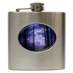 Moonlit A Forest At Night With A Full Moon Hip Flask (6 oz)