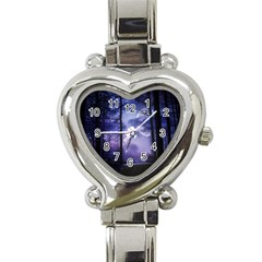 Moonlit A Forest At Night With A Full Moon Heart Italian Charm Watch