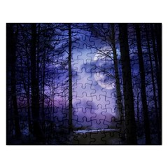 Moonlit A Forest At Night With A Full Moon Rectangular Jigsaw Puzzl