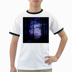 Moonlit A Forest At Night With A Full Moon Ringer T Shirts