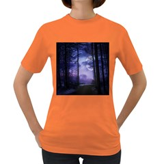 Moonlit A Forest At Night With A Full Moon Women s Dark T-Shirt