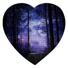 Moonlit A Forest At Night With A Full Moon Jigsaw Puzzle (heart)