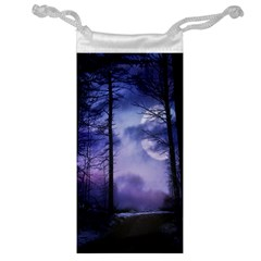 Moonlit A Forest At Night With A Full Moon Jewelry Bag