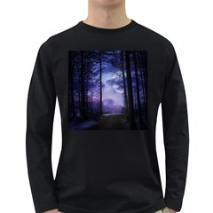 Moonlit A Forest At Night With A Full Moon Long Sleeve Dark T-Shirts