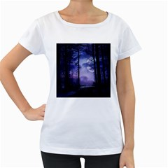 Moonlit A Forest At Night With A Full Moon Women s Loose Fit T Shirt (white)