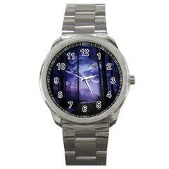 Moonlit A Forest At Night With A Full Moon Sport Metal Watch