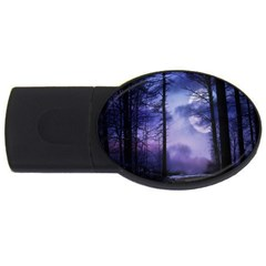 Moonlit A Forest At Night With A Full Moon Usb Flash Drive Oval (4 Gb)