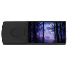Moonlit A Forest At Night With A Full Moon USB Flash Drive Rectangular (4 GB)