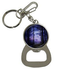 Moonlit A Forest At Night With A Full Moon Button Necklaces