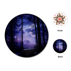 Moonlit A Forest At Night With A Full Moon Playing Cards (round)