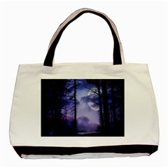 Moonlit A Forest At Night With A Full Moon Basic Tote Bag