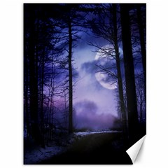 Moonlit A Forest At Night With A Full Moon Canvas 36  X 48