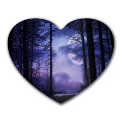 Moonlit A Forest At Night With A Full Moon Heart Mousepads