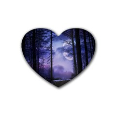 Moonlit A Forest At Night With A Full Moon Rubber Coaster (heart)