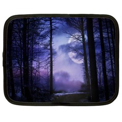 Moonlit A Forest At Night With A Full Moon Netbook Case (large)