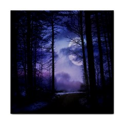 Moonlit A Forest At Night With A Full Moon Face Towel