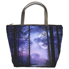 Moonlit A Forest At Night With A Full Moon Bucket Bags