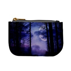 Moonlit A Forest At Night With A Full Moon Mini Coin Purses