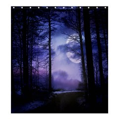 Moonlit A Forest At Night With A Full Moon Shower Curtain 66  X 72  (large)