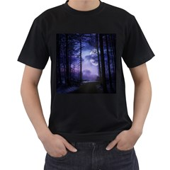 Moonlit A Forest At Night With A Full Moon Men s T Shirt (black)