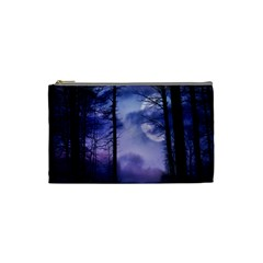 Moonlit A Forest At Night With A Full Moon Cosmetic Bag (small)