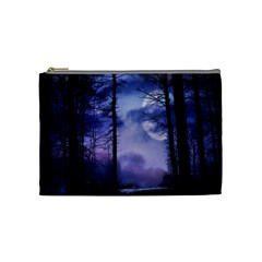 Moonlit A Forest At Night With A Full Moon Cosmetic Bag (medium)