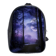 Moonlit A Forest At Night With A Full Moon School Bags(Large)
