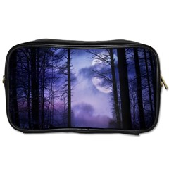 Moonlit A Forest At Night With A Full Moon Toiletries Bags 2 Side