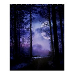 Moonlit A Forest At Night With A Full Moon Shower Curtain 60  X 72  (medium)