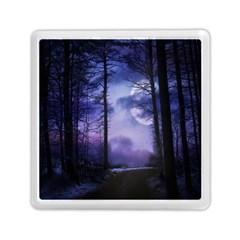 Moonlit A Forest At Night With A Full Moon Memory Card Reader (square)