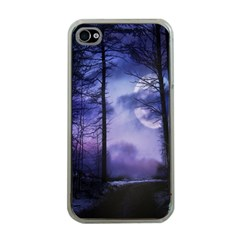 Moonlit A Forest At Night With A Full Moon Apple iPhone 4 Case (Clear)