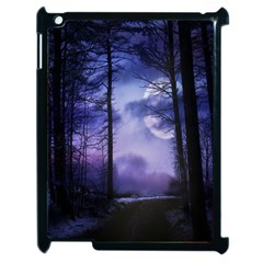 Moonlit A Forest At Night With A Full Moon Apple iPad 2 Case (Black)