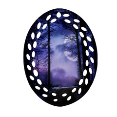 Moonlit A Forest At Night With A Full Moon Oval Filigree Ornament (Two Sides)