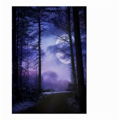 Moonlit A Forest At Night With A Full Moon Small Garden Flag (two Sides)