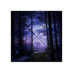 Moonlit A Forest At Night With A Full Moon Acrylic Tangram Puzzle (4  X 4 )