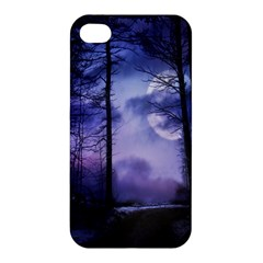 Moonlit A Forest At Night With A Full Moon Apple Iphone 4/4s Premium Hardshell Case