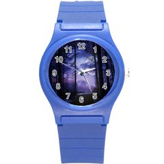 Moonlit A Forest At Night With A Full Moon Round Plastic Sport Watch (S)