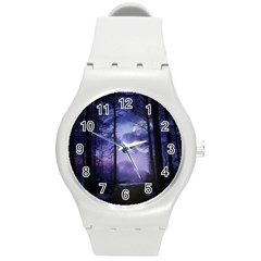 Moonlit A Forest At Night With A Full Moon Round Plastic Sport Watch (M)