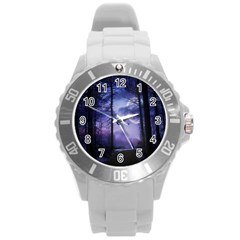 Moonlit A Forest At Night With A Full Moon Round Plastic Sport Watch (L)
