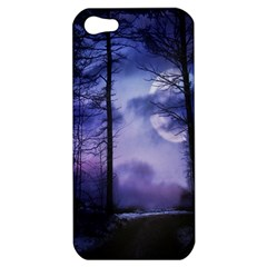 Moonlit A Forest At Night With A Full Moon Apple iPhone 5 Hardshell Case