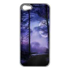 Moonlit A Forest At Night With A Full Moon Apple Iphone 5 Case (silver)