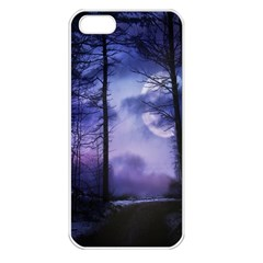 Moonlit A Forest At Night With A Full Moon Apple iPhone 5 Seamless Case (White)
