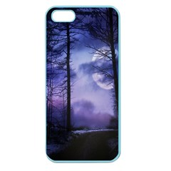Moonlit A Forest At Night With A Full Moon Apple Seamless iPhone 5 Case (Color)