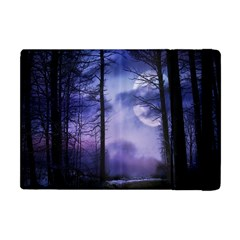 Moonlit A Forest At Night With A Full Moon Apple iPad Mini Flip Case