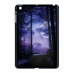 Moonlit A Forest At Night With A Full Moon Apple iPad Mini Case (Black)
