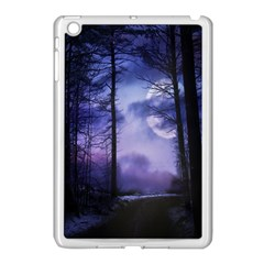 Moonlit A Forest At Night With A Full Moon Apple iPad Mini Case (White)