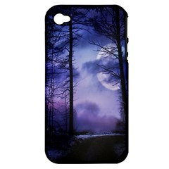 Moonlit A Forest At Night With A Full Moon Apple iPhone 4/4S Hardshell Case (PC+Silicone)