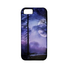 Moonlit A Forest At Night With A Full Moon Apple Iphone 5 Classic Hardshell Case (pc+silicone)