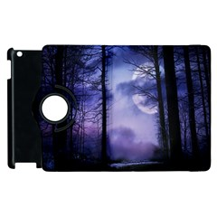 Moonlit A Forest At Night With A Full Moon Apple iPad 2 Flip 360 Case