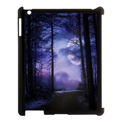 Moonlit A Forest At Night With A Full Moon Apple iPad 3/4 Case (Black)